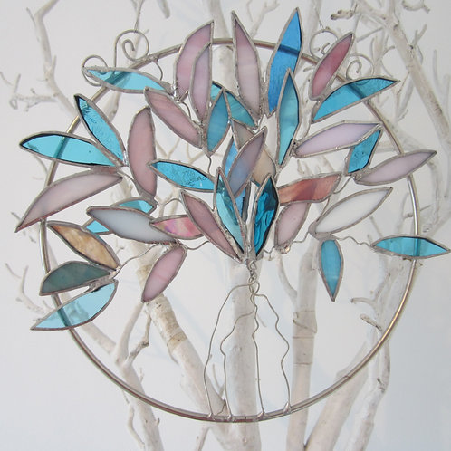 Tree of Life Pink Lt Blue Sun Catcher stained glass / leadlight