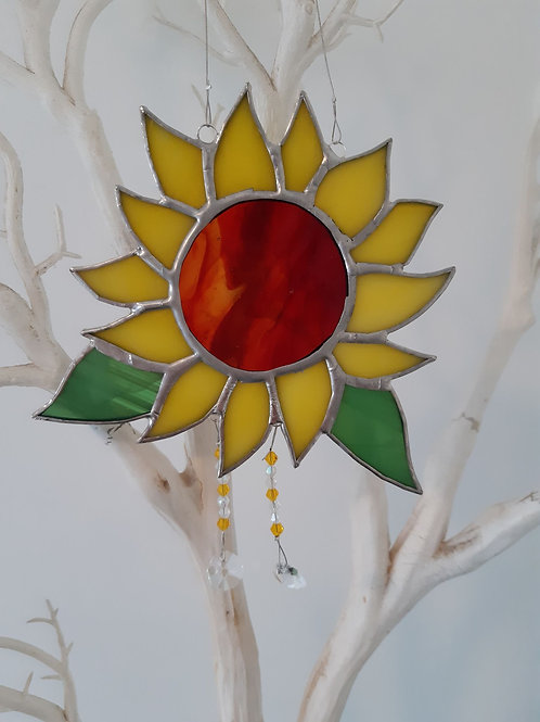 Sun Flower Sun Catcher with Crystal Stained Glass / Leadlight