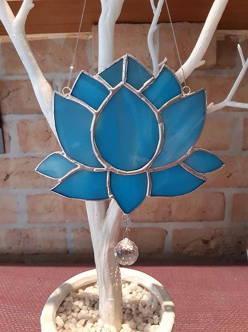 Lotus Flower Light Blue Sun Catcher Stained Glass / Leadlight