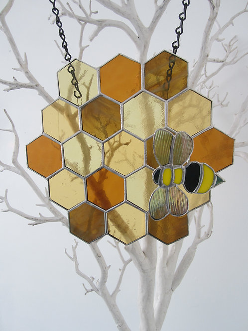 Beehive with Bee Sun Catcher Stained glass / Leadlight