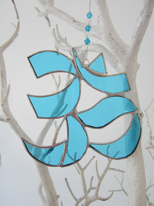 Aum, Ohm, Om Light Blue Sun Catcher stained glass / leadlight
