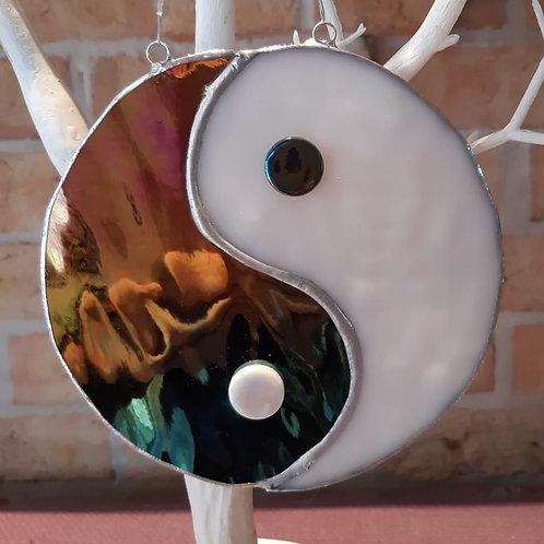 Yin Yang Black & White Sun Catcher Stained Glass / Leadlight