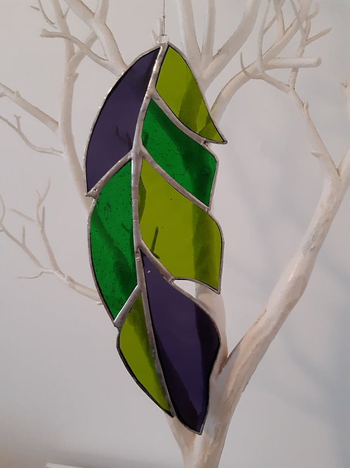 Feather Purple and Greens Sun Catcher Stained Glass / Leadlight