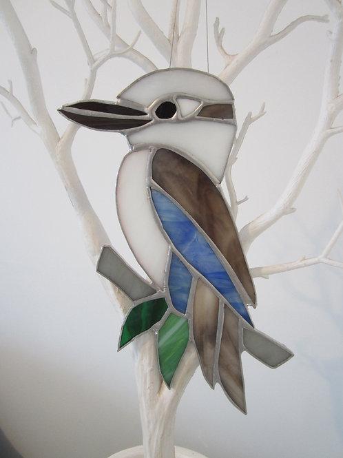 Australian Kookaburra Sun Catcher Blue Wing Stained Glass / Leadlight