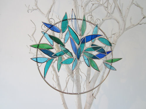 Tree of Life Sun Catcher Blue / Green stained glass / leadlight