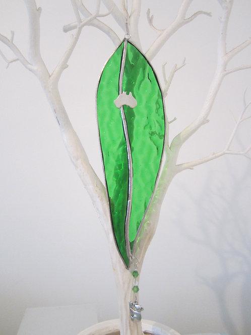 Australian Gum Leaf Sun Catcher  green stained glass / leadlight