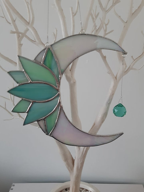 Moon/Lotus with Crystal Sun Catcher Stained Glass / Leadlight