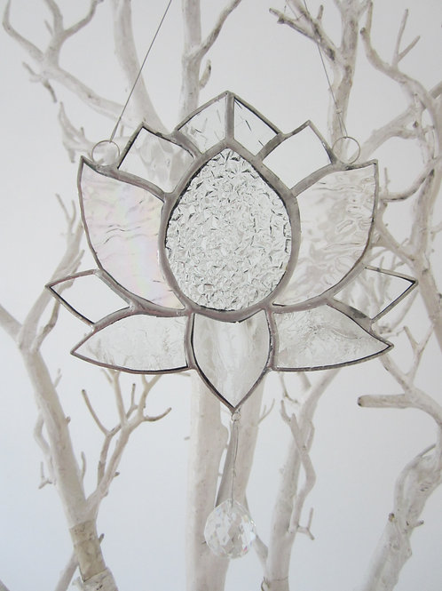 Lotus Flower Clear Glass 2 Sun Catcher stained glass / leadlight