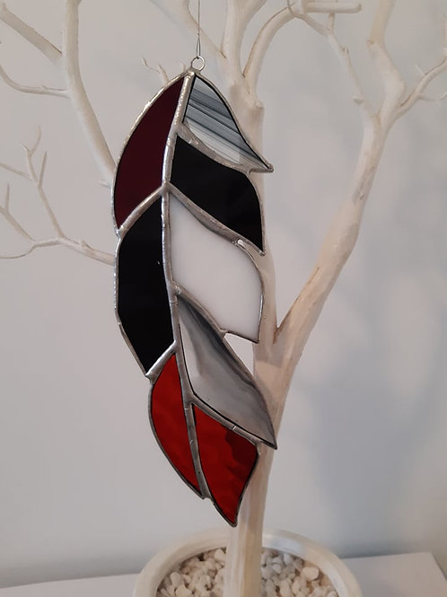 Feather Black, Red and White Sun Catcher Stained Glass / Leadlight