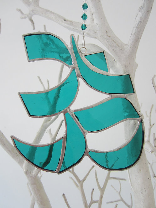 Aum, Ohm, Om Teal Sun Catcher stained glass / leadlight