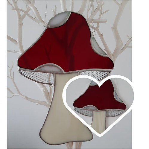 Mushroom Sun Catcher Stained Glass / Leadlight  Red/White/Cream