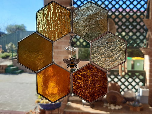 Honeycomb Beehive with Bee Charm and Crystals Stained glass / Leadlight
