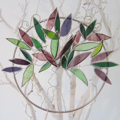 Tree of Life Green Purple Sun Catcher staiend glass / leadlight