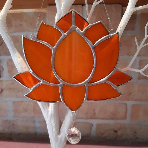 Lotus Flower Orange Sun Catcher Stained Glass / Leadlight