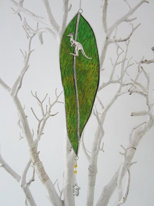 Australian Gum Leaf Sun Catcher green / yellow stained glass / leadlight