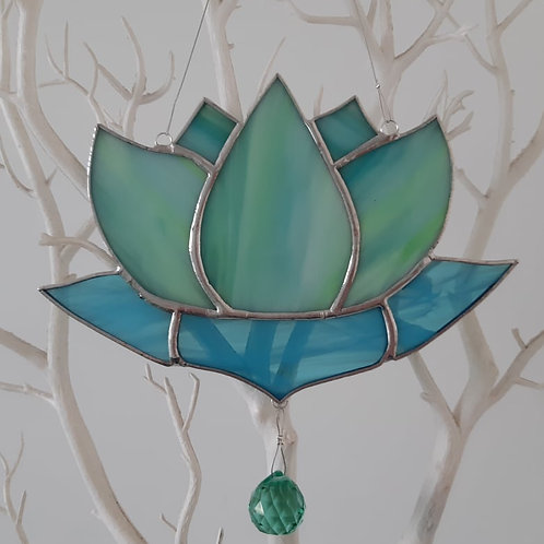 Lotus Flower  Sun Catcher  Stained Glass / Leadlight