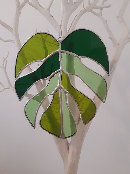 Monstera Leaf Sun Catcher Stained Glass / Leadlight