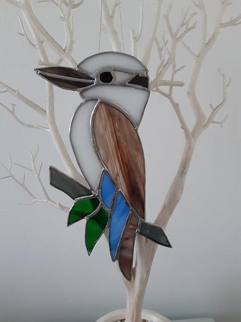 Australian Kookaburra brown wing Sun Catcher stained glass / leadlight