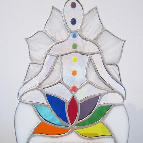 Meditating Yoga Figure Sun Catcher Stained Glass / Leadlight