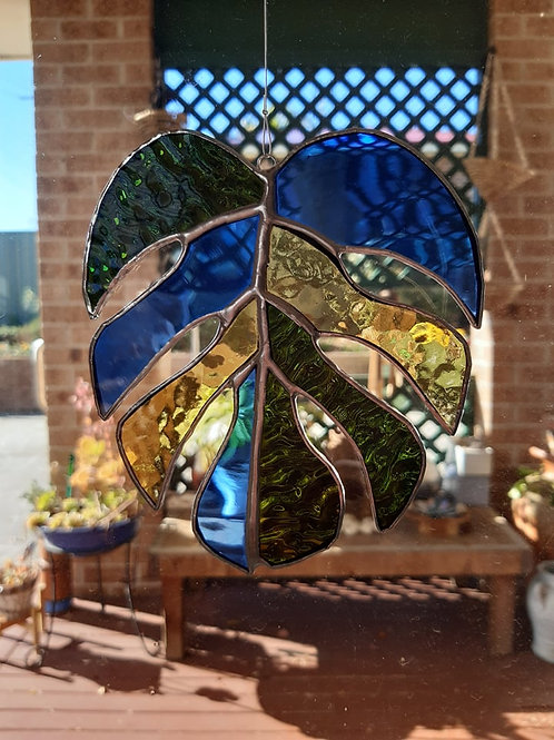 Monstera Leaf Chakra Sun Catcher Stained Glass / Leadlight