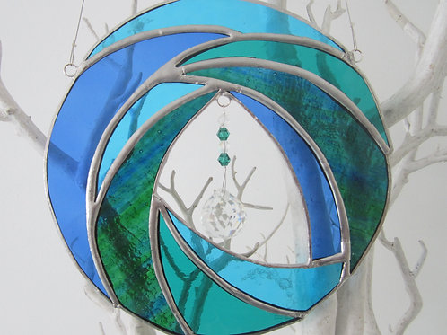 Abstract Circle Wave Sun Catcher stained glass / leadlight