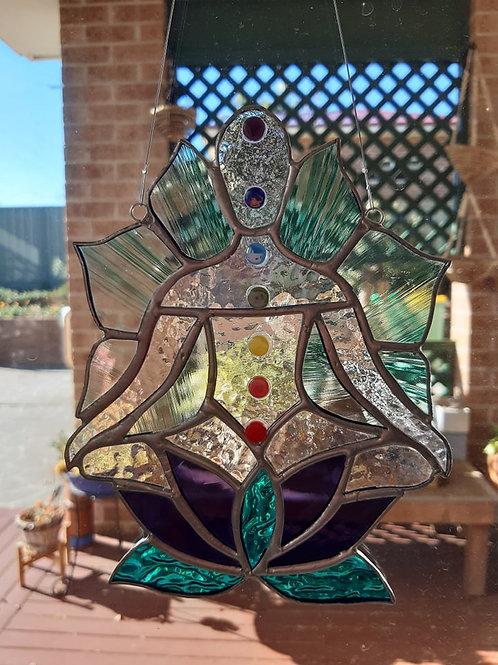 copy of Meditating Yoga Figure Sun Catcher Stained Glass / Leadlight