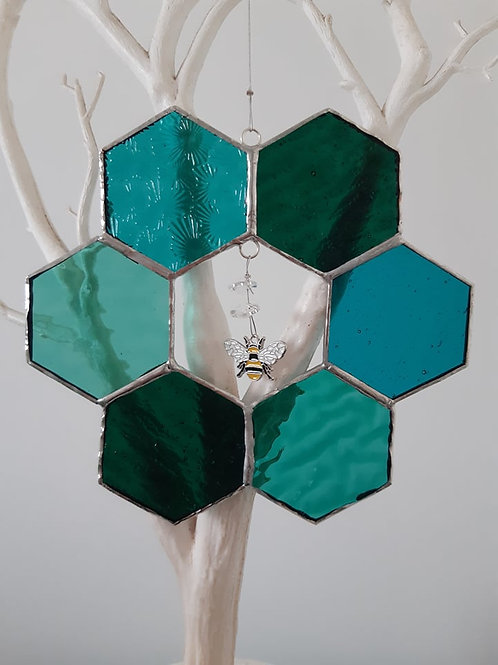 Teal Honeycomb Beehive with Bee Charm and Crystals Stained glass / Leadlight