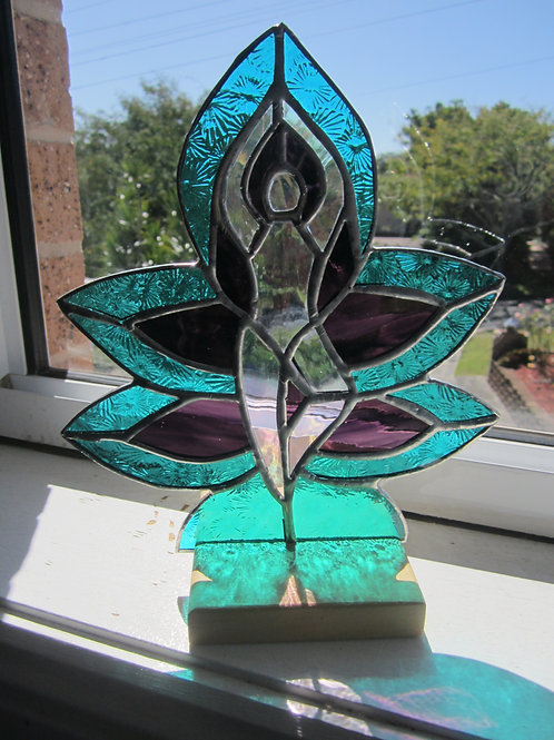 Yoga Figure Sun Catcher stained glass / lead light