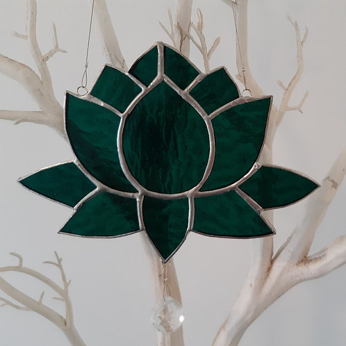 Lotus Flower Dark Teal Sun Catcher Stained Glass / Leadlight