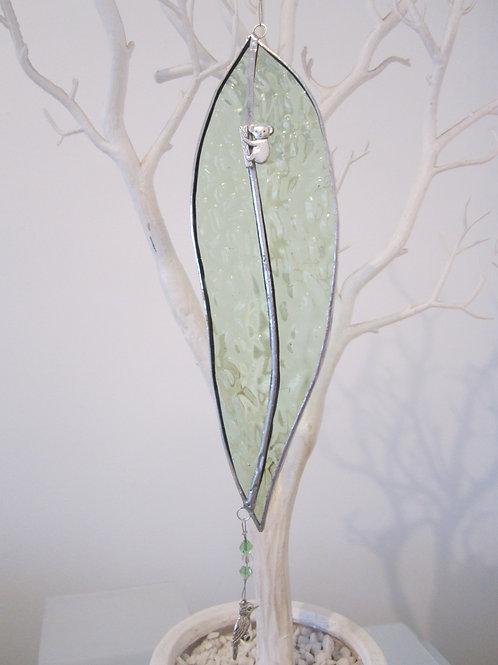Australian Gum Leaf soft green Sun Catcher Stained Glass / Leadlight