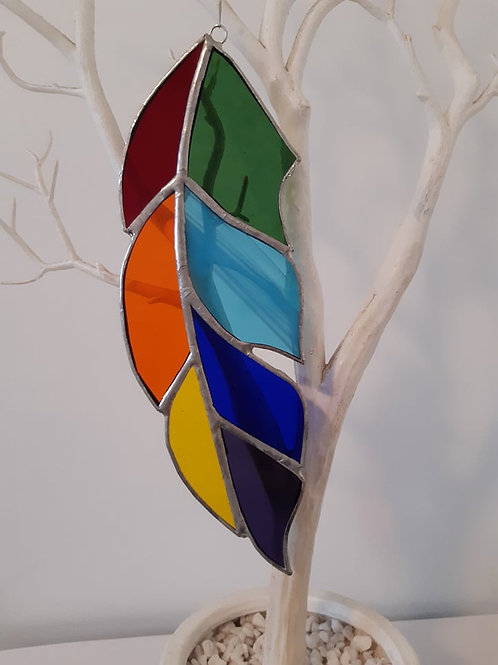Feather Chakra Colours Sun Catcher Stained Glass / Leadlight