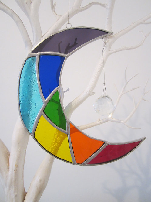 Chakra Moon with Crystal Sun Catcher Stained Glass / Leadlight