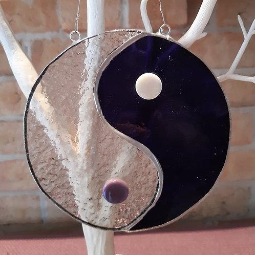 Yin Yang Purple & Clear Sun Catcher Stained Glass / Leadlight