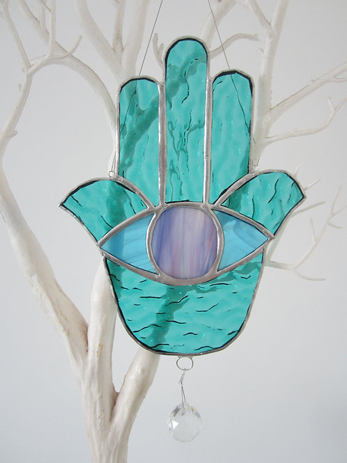 Hamsa with Crystal Sun Catcher Stained Glass / Leadlight