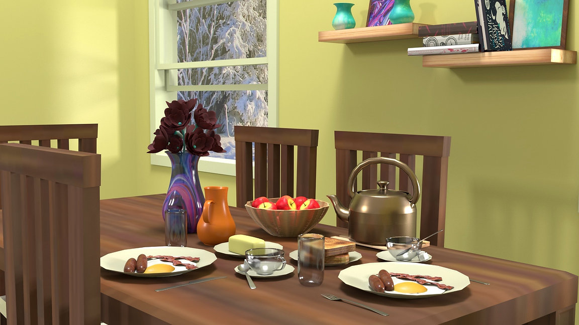 3D Breakfast Scene
