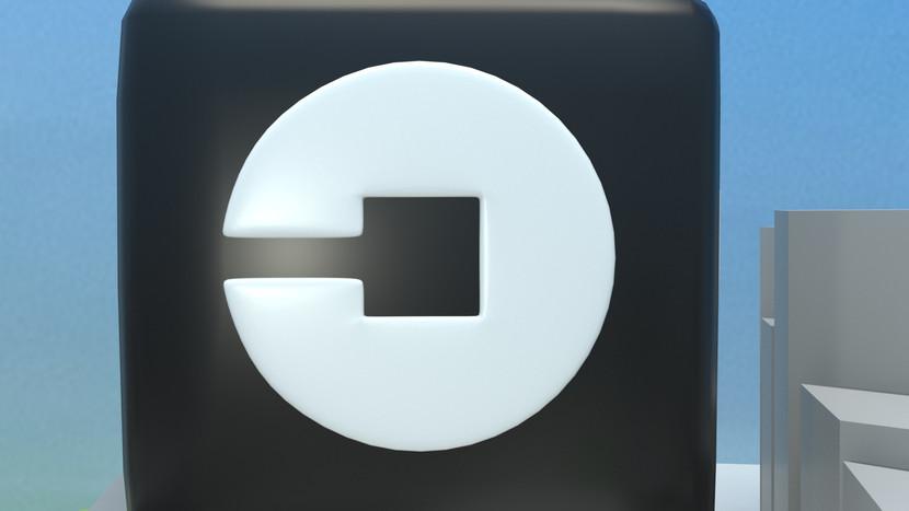 Uber Logo 3D Render Close up