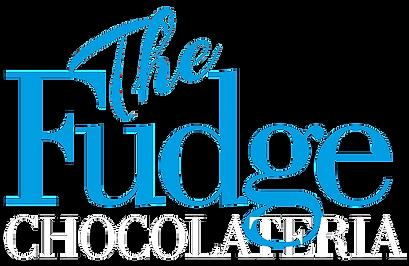 Logotipo The Fudge (em azul) Chocolateria (em branco)