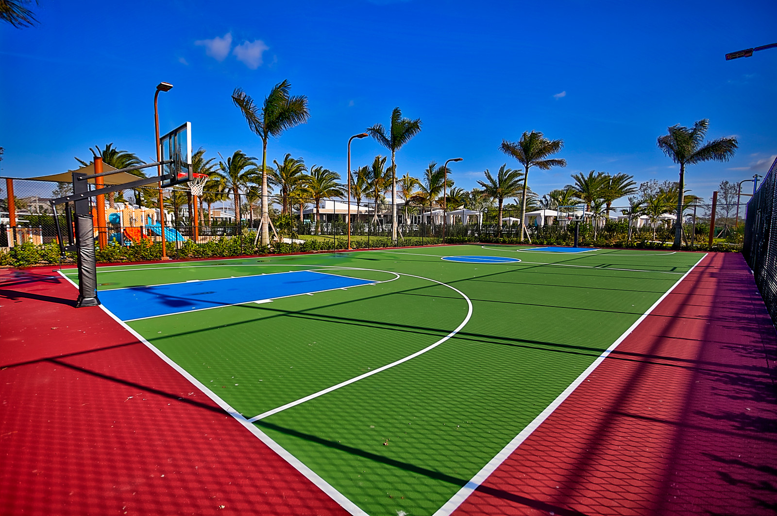 Alton has a modern basketball court with adjustable height ...