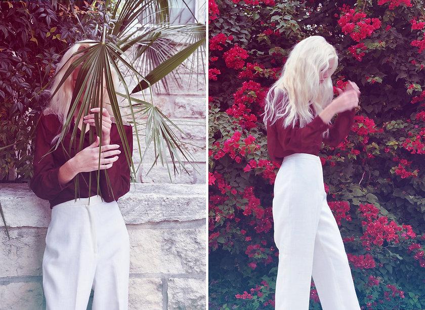 vintage high waist pants, vintage top, vintage clothing