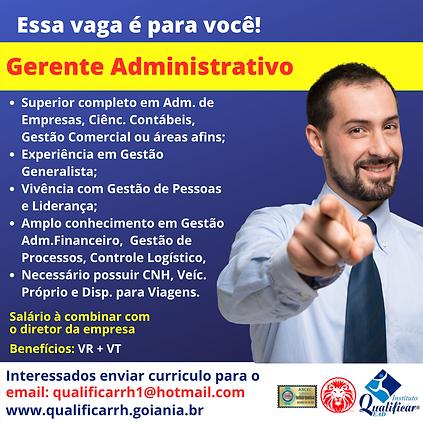 Vaga de Emprego Gerente Administrativo -