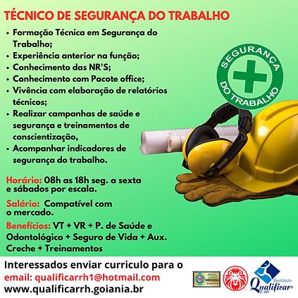 VAGA TÉCNICO DE SEGURANÇA DO TRABALHO -
