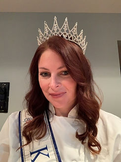 Chef Katy wearing MS. Kansas Crown and Sash and Chef coat