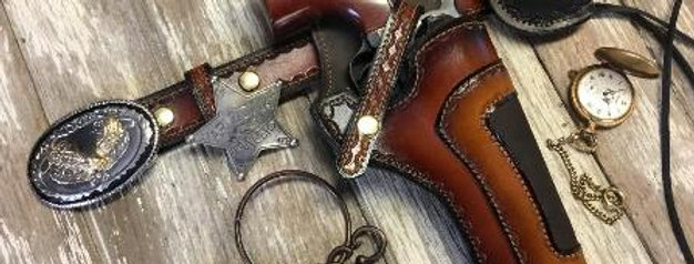 Wide Ammo Dual Leather Cowboy Holster