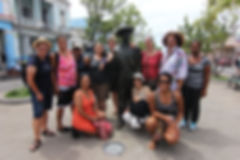 2014 Research Delegation with Bronze Statue of Singing Star and Band Leader Benny MorŽ in Cienfuegos' Prado Street