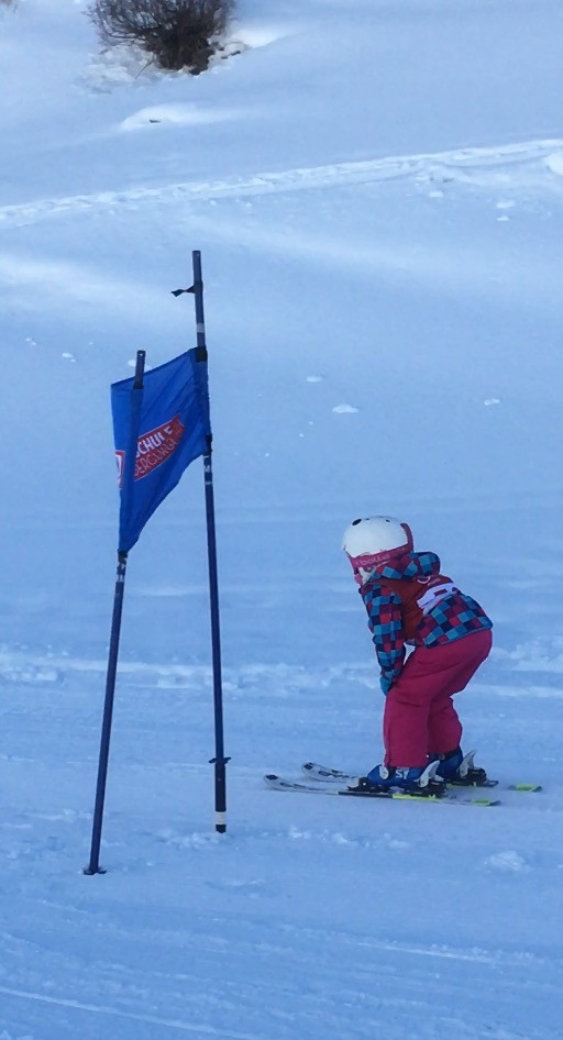 Ella in her first slalom race