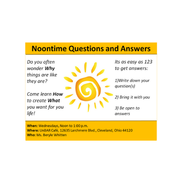 NOON TIME QUESTIONS AND ANSWERS