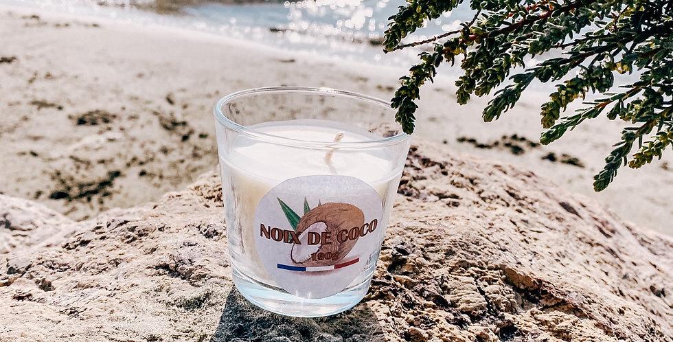 Bougies NOIX DE COCO, bougeoir en verre...