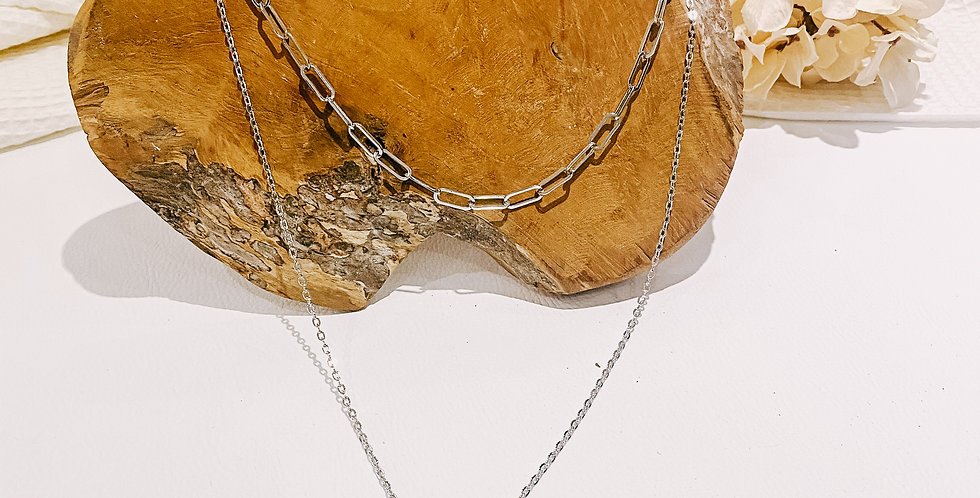 YACH collier, doubles chaînes, argenté...