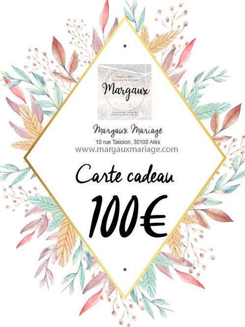 Carte cadeau de 100€ valable 1 an.