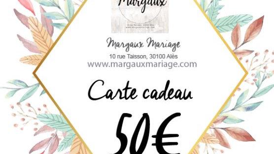 Carte cadeau de 50€ valable 1 an.